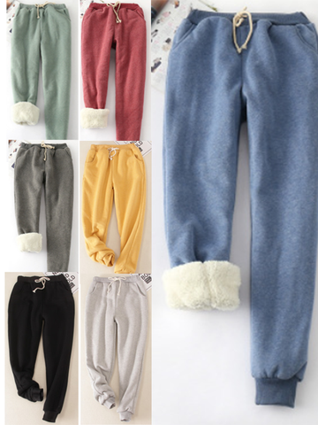 Women Cotton Casual Sport Color Pants