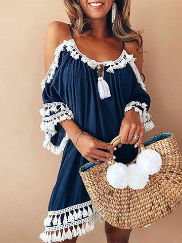 A-line Women Date Elegant Cold Shoulder Solid Summer Dress