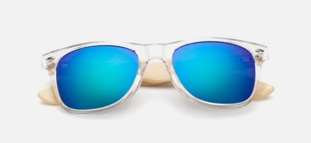 Unisex wood framed sunglasses