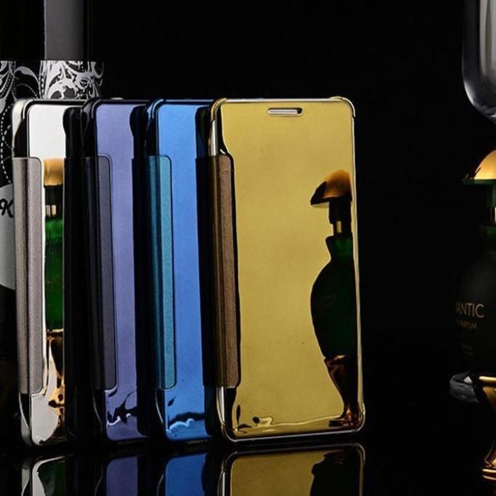 new arrival 222a4 956a2 Luxury Mirror PU Mirror Flip Case For All Samsung Models & Huawei P9