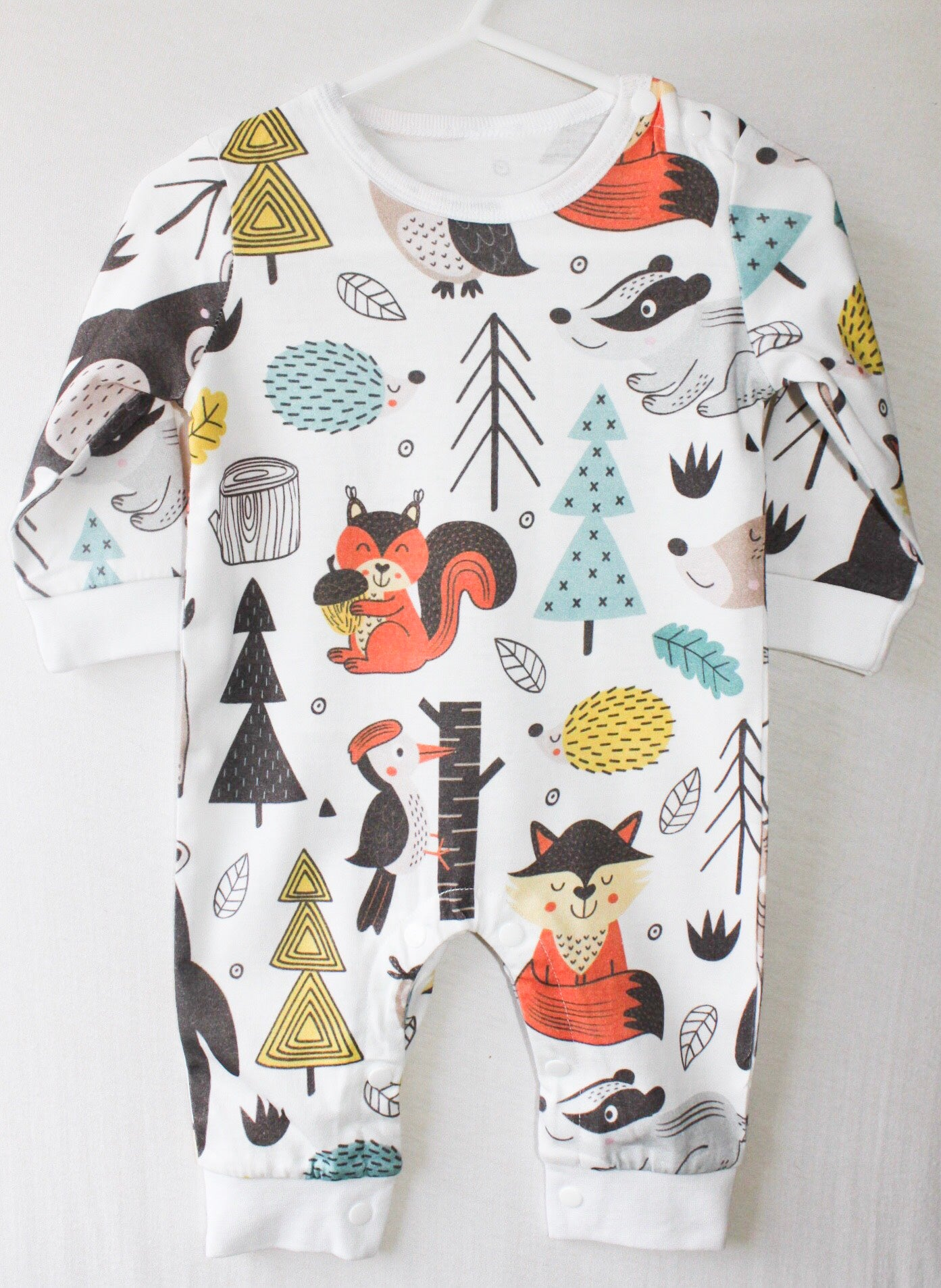 Woodland Animal Print Baby Romper