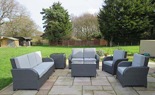 Fine Chairs Rattan Garden Conservatory Outdoor Patio Sofa Furniture Set  Wicker Lounger 7 Seater (Grey)
