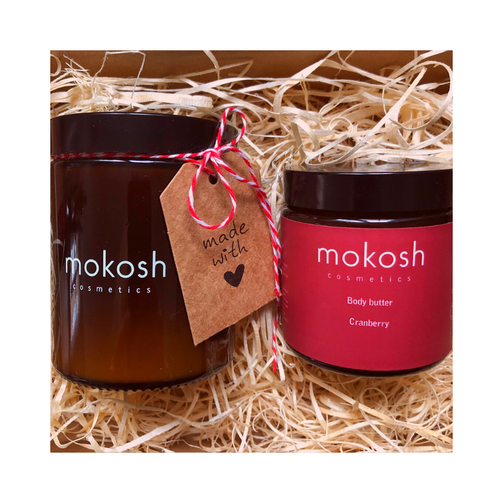 Mokosh | Gift Set Soja kaars & Body Butter Cranberry