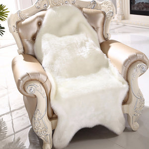 4 Colors Soft Faux Sheepskin Chair Warm Hairy Carpet Seat Pad Plain Skin Fur Plain Fluffy Area Rugs Washable Bedroom Decor Mats
