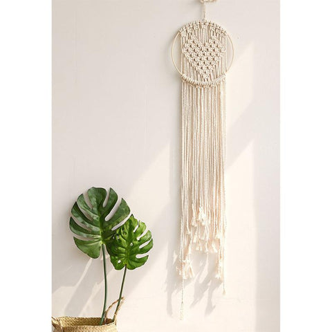 Hand-woven Heart Macrame Rope Tapestry Crafts Bohemia Style Wall Hanging Ornaments DIY Wedding Home Decoration