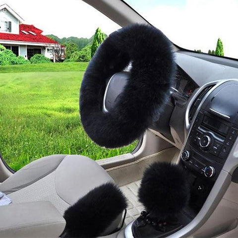 3pcs Super Soft Warm Pink Sheepskin Long Wool Plush Car Steering Wheel Cover Hand Brake Cover Shifter Shift Knob cover
