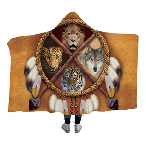 BeddingOutlet Dreamcatcher Adults Hooded Blanket Bear Tiger Wolf Indian Sherpa Fleece Wearable Blanket Tribal Home Textiles