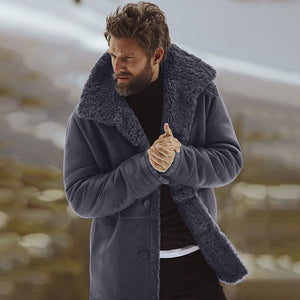 Men's Winter Sheepskin Jacket  Warm Wool Lined Mountain Faux Lamb Jackets Coat