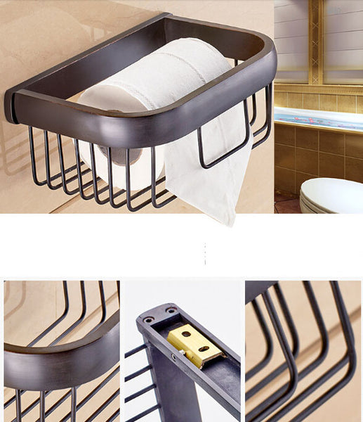 Multi-colors Brass Wall Mount Bathroom Basket for Roll Paper & Daily Necessities Toilet Paper Tissure Holder