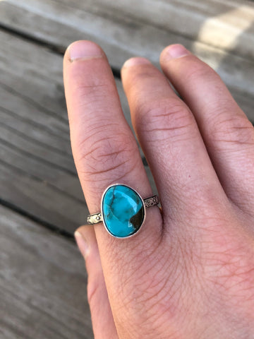 Turquoise Ring with Etched Floral Band