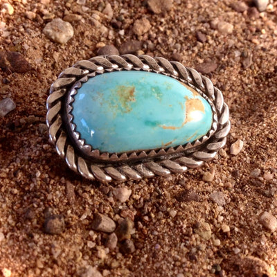 Royston Highgrade Turquoise and Sterling Silver Ring 6.5
