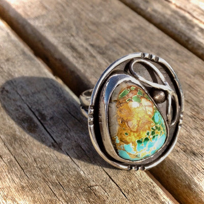 Royston Boulder Turquoise and Sterling Silver Ring 8