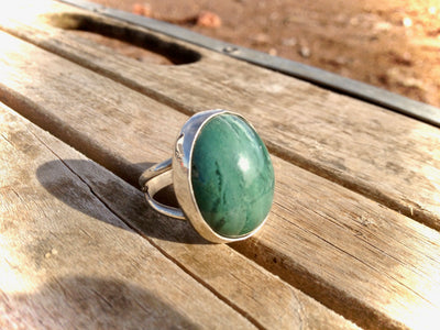 Chrysophrase Sterling Silver Ring 9.25