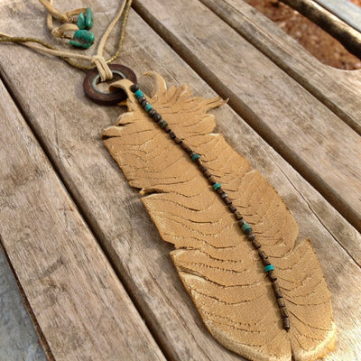 Leather Heather Feather Necklace