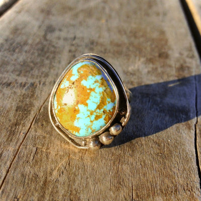 Royston Boulder Turquoise and Sterling Silver Ring 5.5