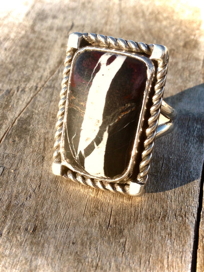White Buffalo and Sterling Silver Ring 8