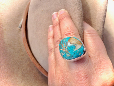 Royston Royal Blue Highgrade Boulder Turquoise and Sterling Silver Ring 8.25