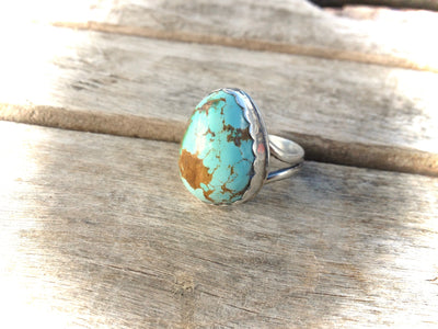 Royston Boulder Turquoise and Sterling Silver Ring 6.5