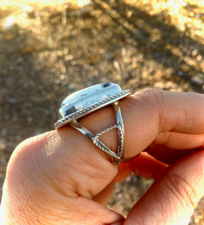 White Buffalo and Sterling Silver Ring 9.25