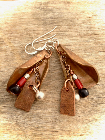 Smashed Copper Nubia Charm Earrings