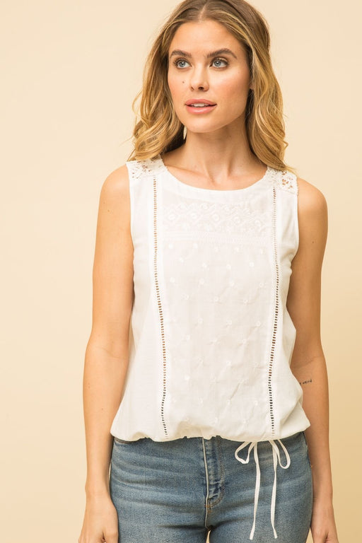 Color:  Off White Sleeveless Top Tie Bottom 100% Cotton