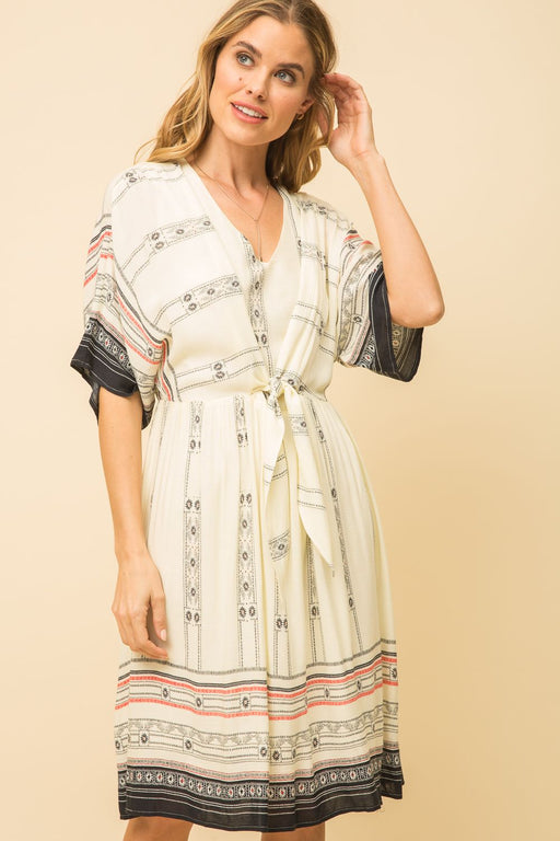 TIE FRONT MIDI PRINT DRESS  -100% RAYON, LINING 100% POLYESTER Short Sleeve Tie Front Multi-color Print