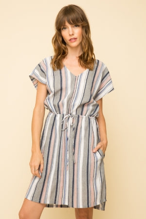 Mystree Strip Cinched Waist Dress  -100% COTTON  Tie Front Midi V-neck
