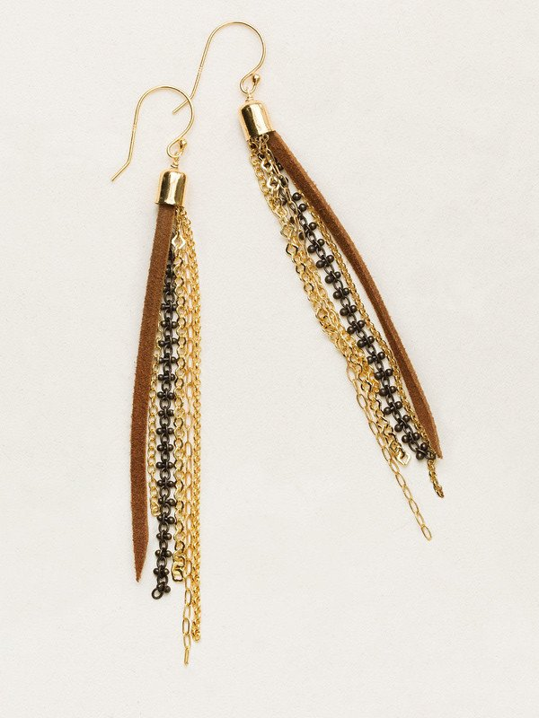 Streaming strands of leather fringe, gold overlay and antique brass chain make up this bold and feminine adornment. Our Delaney Earrings are a natural for the adventure lover and the free spirit.