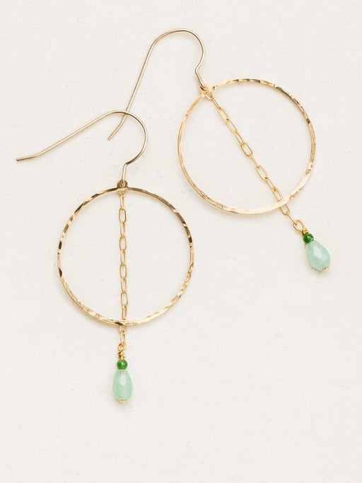 Modern geometry meets classic elegance in our Avita Hoop Earrings. A sparkling Swarovski crystal briolette and Bohemian bead duo dangle from a sleek length of fine chain down the center of a linked hammered hoop.