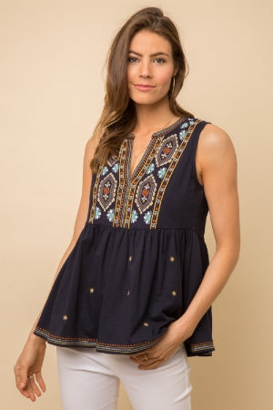 EMBROIDERED PEPLUM SILHOUETTE TOP  -100% COTTON