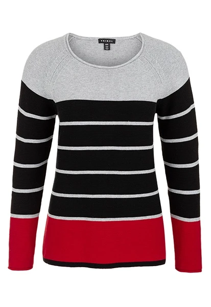 Our 100% cotton long-sleeve striped sweater combines a sophisticated neckline with a playful textured stripe in classic color block combinations.      Crew neck      Long sleeve      Machine wash gentle cold      Lay flat to dry
