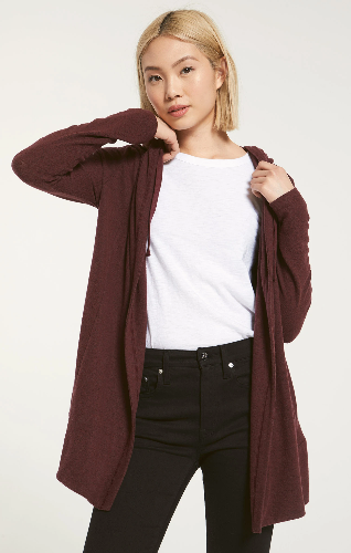 So cozy! Wearing the Clay Marled Cardigan is like being wrapped up in your favorite worn-in blanket. Our buttery soft marled spandex brushed sweater knit fabric gives this cardigan an irresistibly cozy feel you'll find any excuse to wear. Featuring a hooded, drawstring design, this relaxed style will become your go-to for the whole season.