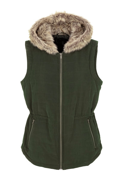 Tribal Fur Hood Vest. Amazingly soft fur hood. Perfect for those chillier days.   Faux fur hood.  Front zip.  Side pockets.  Hits at the hip.  Polyester, nylon.