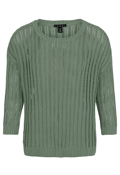 Feel the warm breeze with this loose knit sweater. A drop shoulder and wider round neck keep things casual, while its intricate knit and three-quarter sleeve can rally with a pair of business casual trousers.
