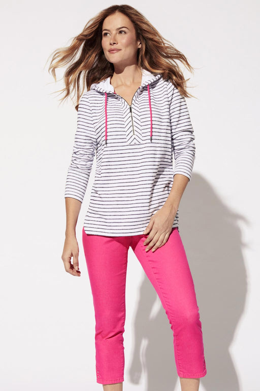 Consider your go-to hoodie upgraded. Chillier evenings call for this striped cozy knit pullover hoodie! It's relaxed body fit, and contrast half-zip is accented with hot pink drawstrings. Pairs perfectly with days on the beach, sunset cruises or trips to the cottage.