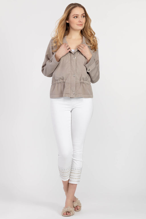 No spring and summer closet is complete without a lightweight jacket. Ours is made of super-soft lyocell, complete with a flattering drawstring waist, four practical front pockets, and a round collar.  100% Lyocell-– Drawstring waist – Zipper front with snap tab – Breast and front pockets – Lyocell fabric-Machine Wash Delicate Cycle Cold Water ,Separately, Do Not Bleach, Line Dry, Low Iron If Needed.