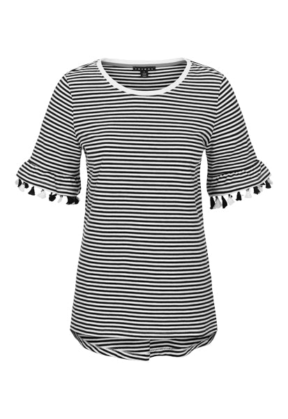 Classic and fun all in one! Tassel accents on each sleeve bring an unexpected twist to this soft cotton crew neck top. This striped jersey top is the perfect way to step out on those days you're feeling those summer vibes and want to add a touch of boho chic to your look.