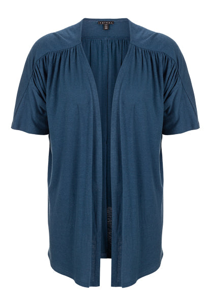 This short sleeved, navy cardigan is the perfect layering piece for spring. With the gathered sleeve and neckline, it flows perfectly over your favorite tank or dress.