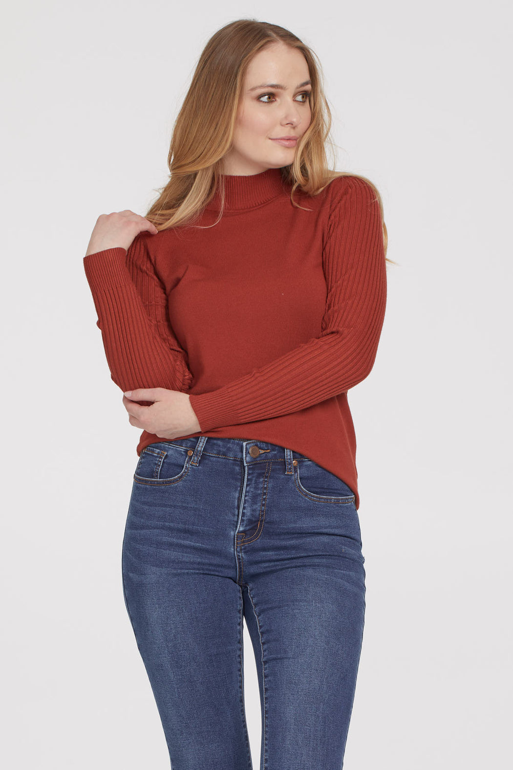 Struggling to find a cute top to wear during a cozy coffee date or casual stroll? Well, look no further than this sweater, whose dual ribbed knit is guaranteed to keep you looking stylish while feeling cozy. Best of all, a turtleneck is made to keep you nice and warm as the temperatures begin to drop and the accent buttons on the sleeve add just the right detail.