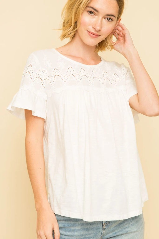 Eyelet Yoke  Short Gathered Sleeve  Cotton  Hand Wash