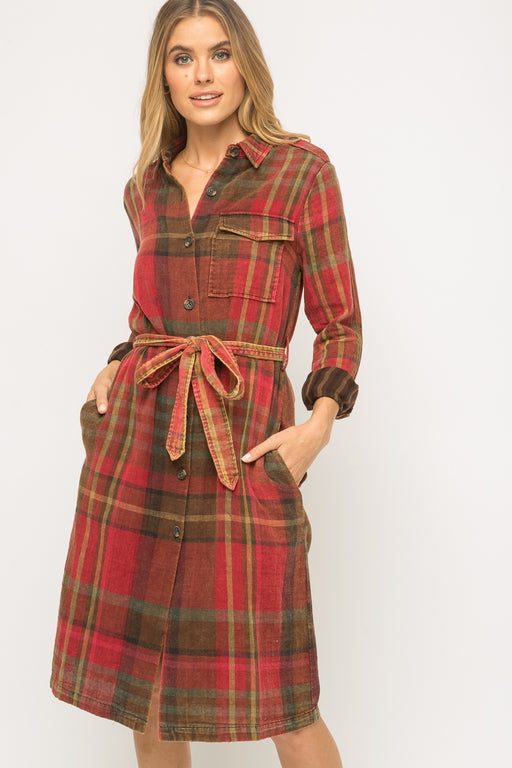 Double plaid trench coat dress with waist belt  Button down detail Side pockets and bust pocket detail Soft cotton fabrication Button-closure sleeve cuffs -100% Cotton