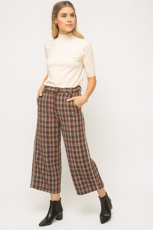 Plaid wide ankle pants  Button closure with zip fly Double pockets detail Belt loop detail 100% Polyester