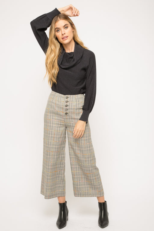 Mystree Colorful stitch detail wide plaid pants      Button-front closure     Colorful stitch detail  -97% Polyester, 3% Spandex