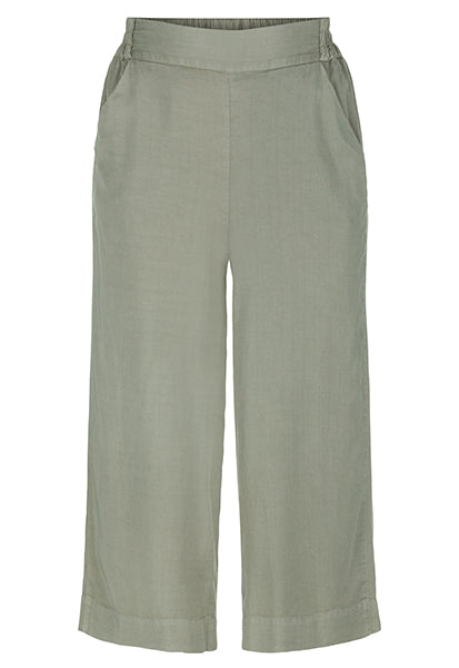 Cool breezy summer pant in a beautiful neutral jungle green hue. Comfortable elastic waist band.   100 % Lyocell   Machine Wash Delicate / Line Dry