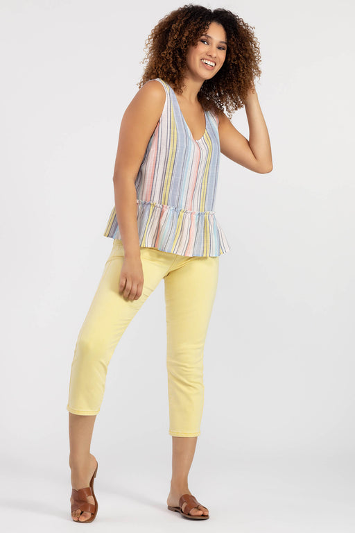 Sun's out, rainbows out. Our cutest sleeveless cami is covered in pale rainbow stripes, and topped off with an irresistible ruffle hem for exceptional dimension and easy breezy fit.