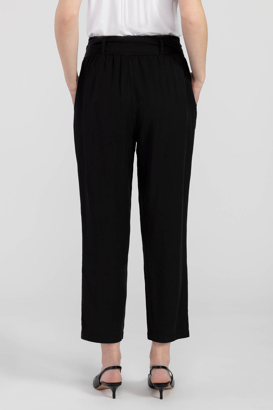 Accent your figure in all the right ways with our black paper bag waist pant! With a tie belt that cinches and flatters, these full-length bottoms are soft to the touch and extra comfy.