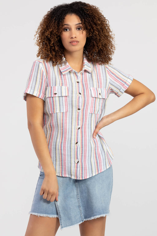 Textured crinkle gauze fabric adds an extra dose of personality to this colorful top. A multicolor stripe with a vintage fade is elevated with camp-style details like cuffed short sleeves and buttoned breast pockets.
