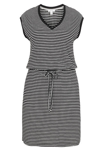 The TRIBAL® Drop Shoulder Dress is the perfect choice for your casual days with an allover striped print, V-neckline, and drop shoulder design. Sleeveless dress is featured on a stretch viscose fabrication. Cinched waistline with adjustable drawstring. Pullover styling. Straight hemline. 95% viscose, 5% spandex. Machine wash cold, line dry.