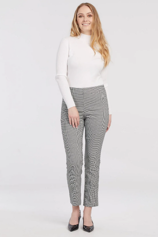Look and feel your best in our signature Flatten It® ankle pants. Featuring a tummy-shaping mesh panel that slims the waist and flatters the midsection. The subtle fashion print is the perfect stylish touch to this comfortable houndstooth bottom with black accent trim back pocket detail.