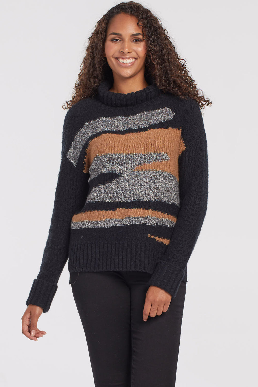 Each bold stroke on this sweater's torso features a season-right take on camo to create a lovingly crafted abstract design. A roomy fit and comfort-perfect roll neck and cuffs underscore this cozy cotton-blend sweater's relaxed fit.